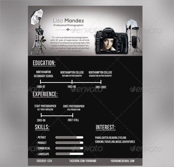 9 Photographer Resume Templates \u2013 Free Samples , Examples  Format