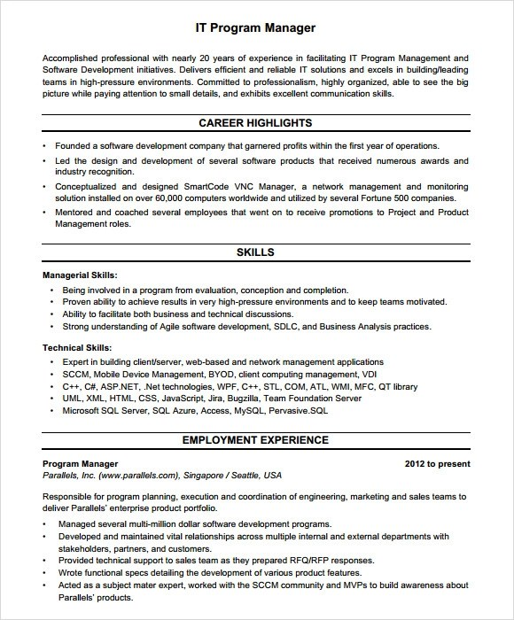 8+ Project Manager Resumes Samples, Examples, Templates Sample