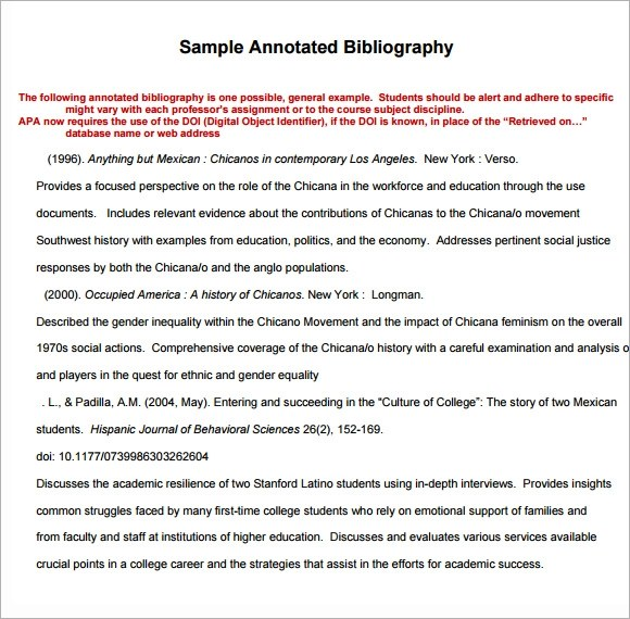 6+ Annotated Bibliography Samples Sample Templates - annotated bibliography template