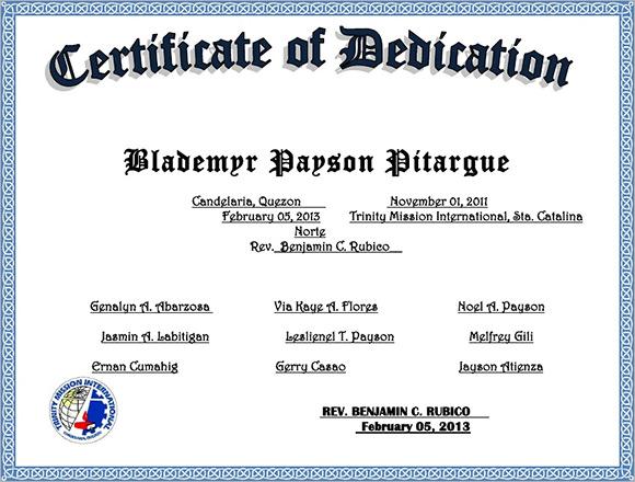 9 Sample Printable Baby Dedication Certificate Templates Sample
