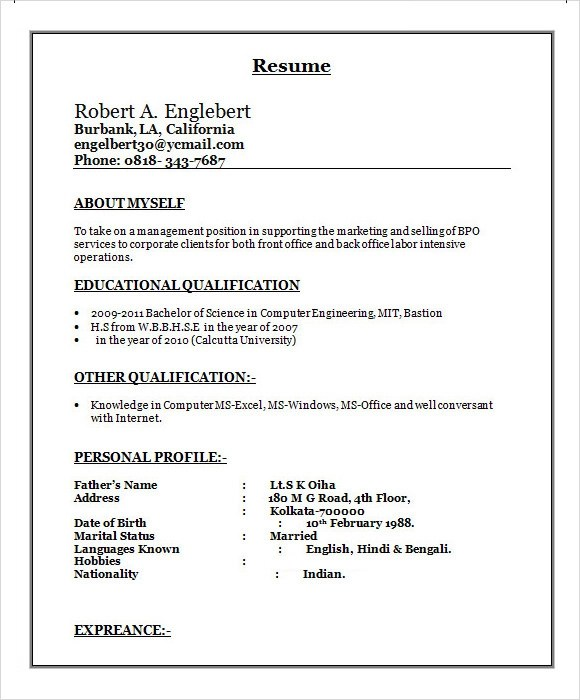 Sample Resume Format For Freshers Free Download In 2017 Sample Bpo Resume 5 Documents In Word Pdf