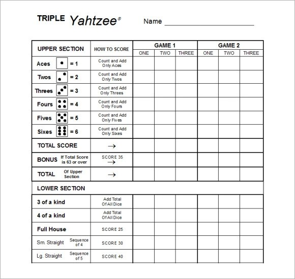 6+ Yahtzee Score Sheets Templates Sample Templates - sample yahtzee score sheet