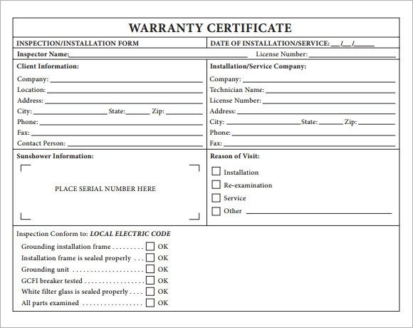 7 Sample Warranty Certificate Templates to Download Sample Templates - computer certificate format