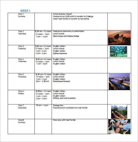 9+ Weekly Itinerary Samples Sample Templates