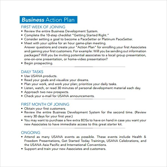 Fast Food Restaurant Business Plan Sampleplan Business Action Plan Template 5 Download Free Documents