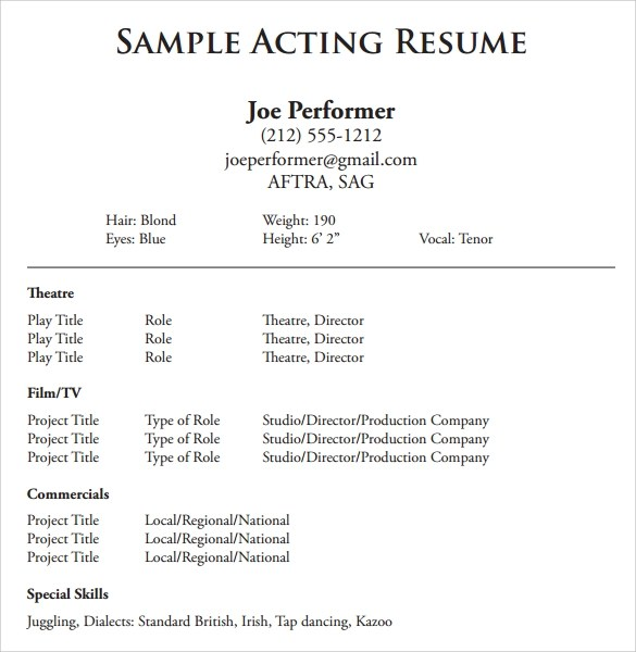 Sample Acting Resume - 6+ Documents in PDF, Word - special skills on acting resume
