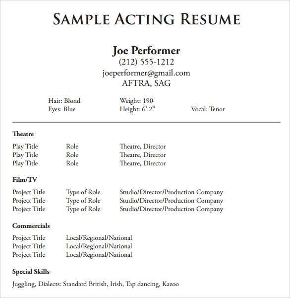 acting resume word template