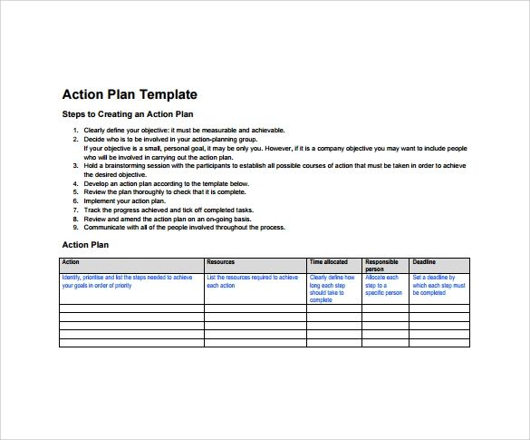 plan of action template word
