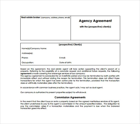 Sample agency agreement sample agency agreement template free business agency agreement template nodecvresumepaasprovidercom platinumwayz
