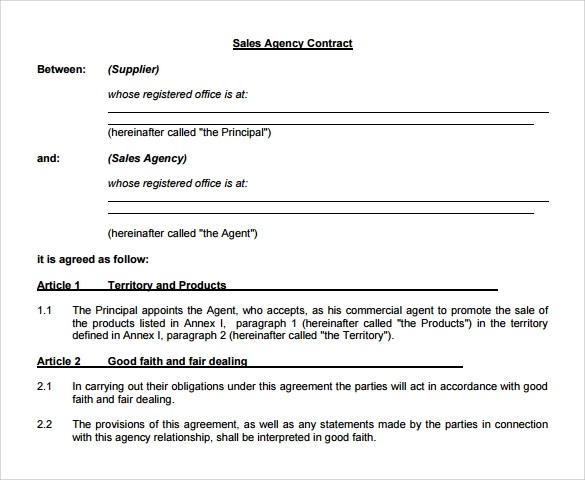 10+ Agency Agreement Templates \u2013 Free Samples, Examples  Format - agent agreement template free