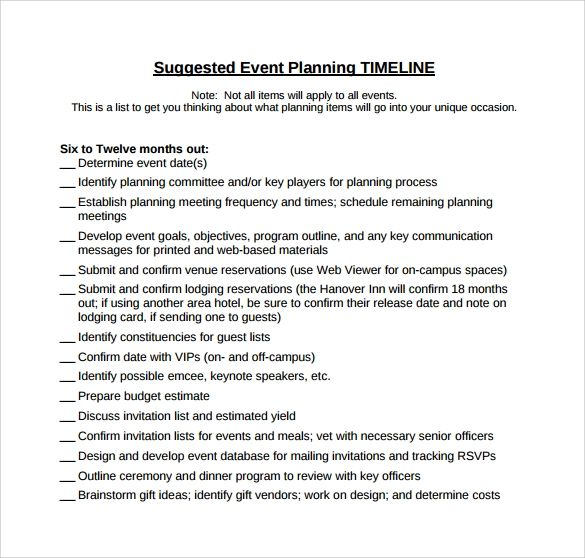 timeline of events template