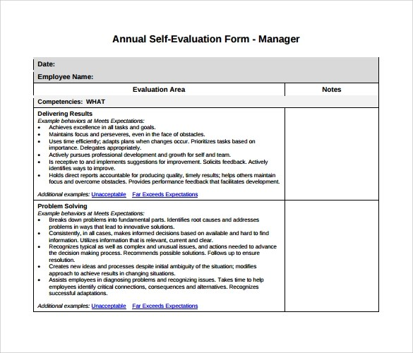 Sample Manager Evaluation - 6+ Documents in PDF, Word - sample manager evaluation