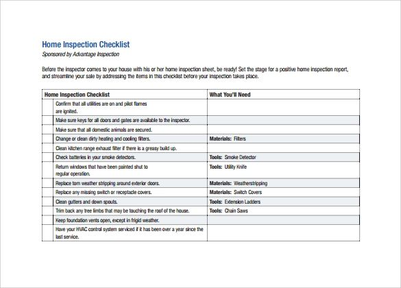 home inspection worksheet