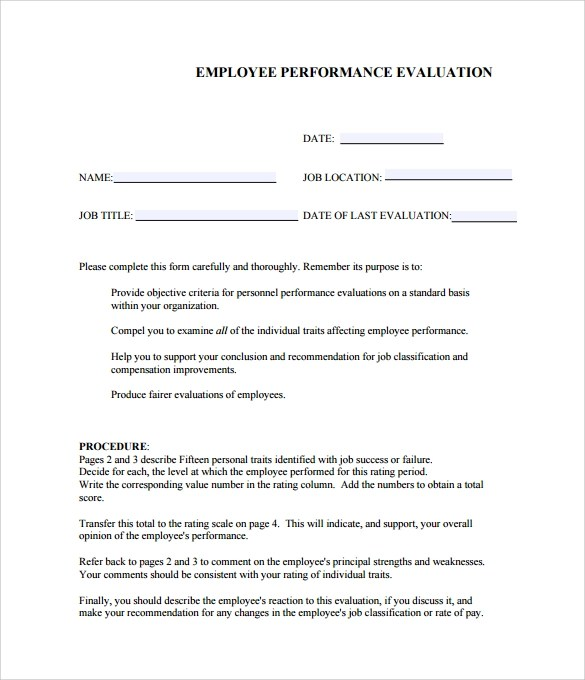 8+ Performance Evaluation Samples, Templates, Examples Sample - sample performance evaluation