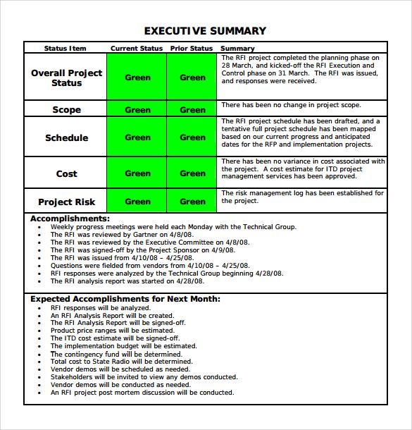 project status summary template - Militarybralicious - project status sheet