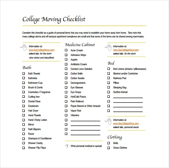 Sample College Checklist Sample Supervisoru0027S Checklist For New - moving checklist template