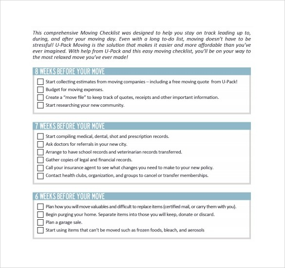 11+ Moving Checklist Templates - Free Example, Sample, Format - moving checklist template