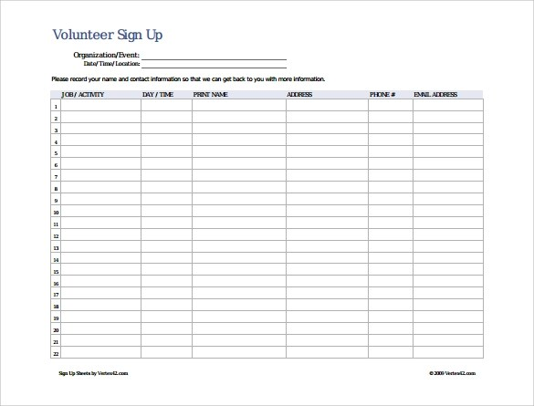 13+ Sign Up Sheet Samples Sample Templates - sample event sign in sheet template