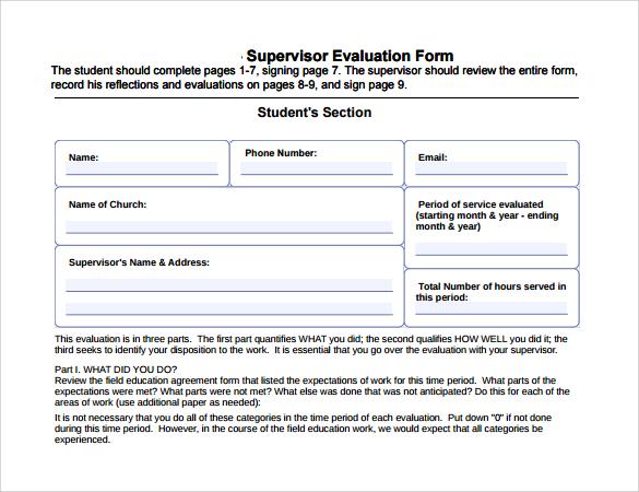 simple evaluation template