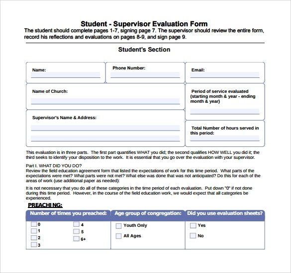 Sample supervisor evaluation form