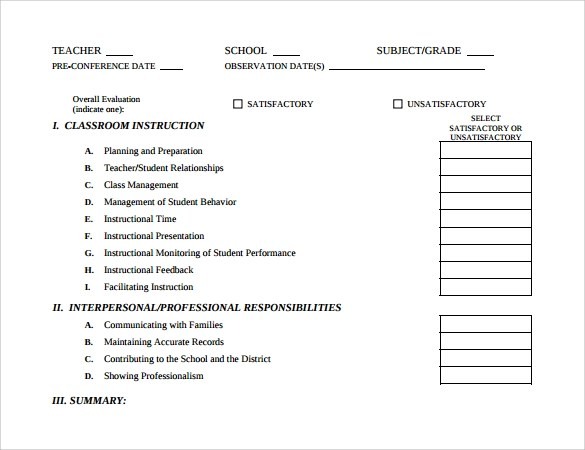 Student Evaluation Forms Self Evaluation Examples 24 50+ Self - presentation feedback form