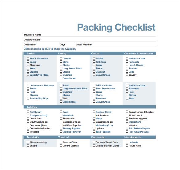 Sample Travel Checklist Beach Vacation Checklist Sample Vacation - sample travel checklist