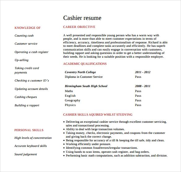 resume career objective for cashier