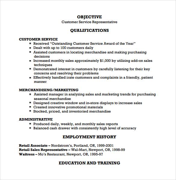 8 Customer Service Resume Templates \u2013 Free Samples , Examples