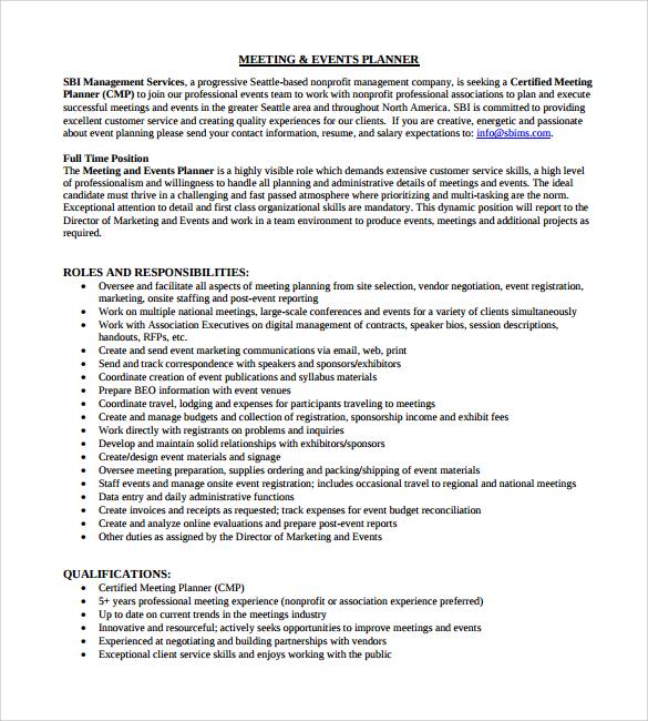 event coordinator resume templates trattorialeondoro - event planning resumes