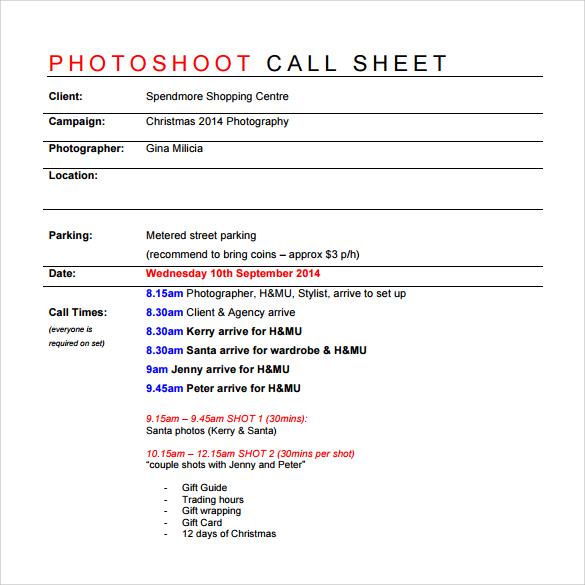 Call Sheet Example