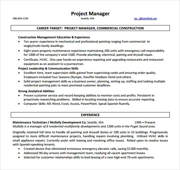 Project Manager Resume \u2013 9+ Samples , Examples , Format