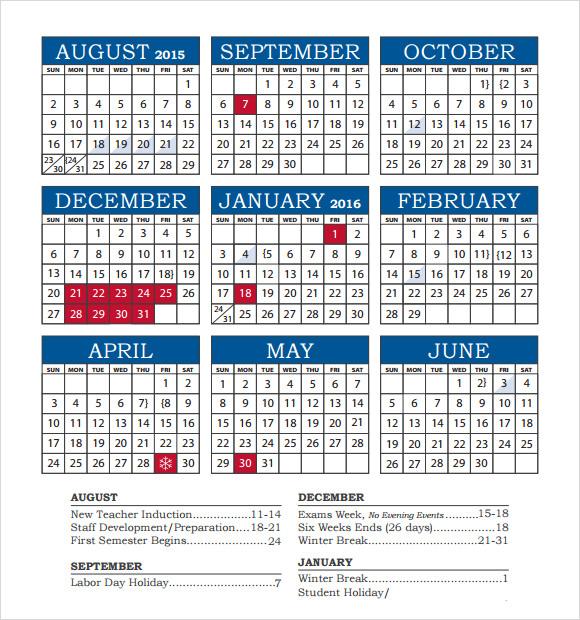 Sample Academic Calendar Academic Calendar Academic Calendar Baxter