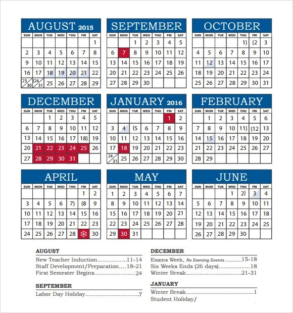 8 School Calendar Templates \u2013 Free Samples, Examples  Format - academic calendar template
