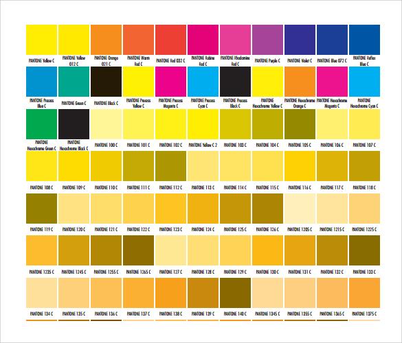 pantone color samples