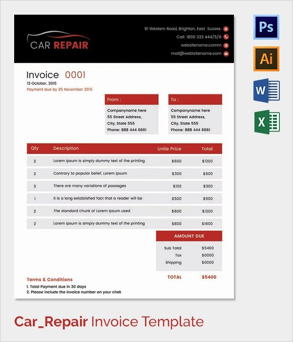 38+ Invoice Templates - Free Sample, Example, FormatAuto Repair - free auto repair invoice template