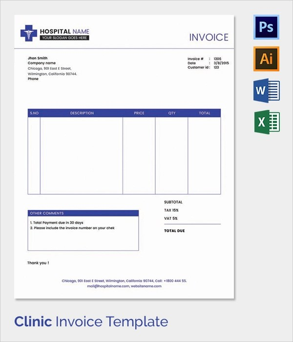 Download Sample Hotel Invoice – Hospital Invoice Template