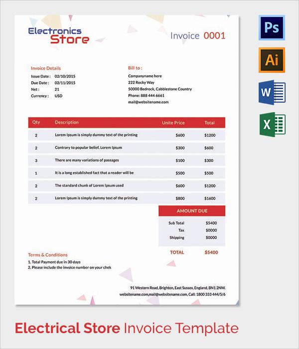 Electrical Invoice Template Free \u2013 operlyinginfo - electrical invoice template