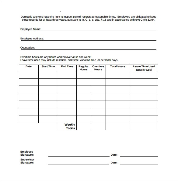 Printable Time Sheets Sample Time Sheet 10 Example Format