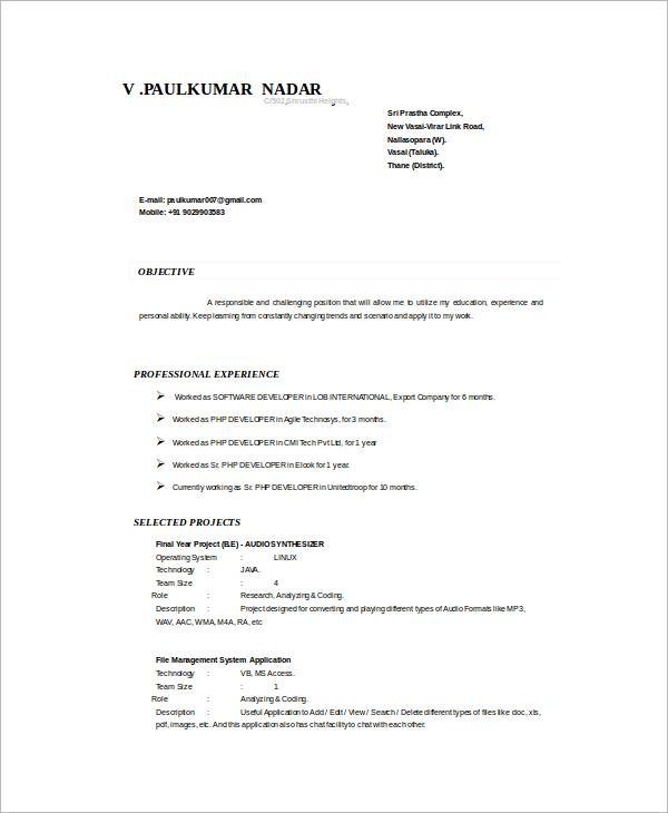 8+ Sample PHP Developer Resume Templates Sample Templates