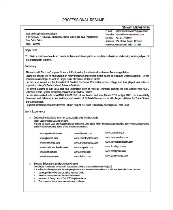 freelance web design resume examples