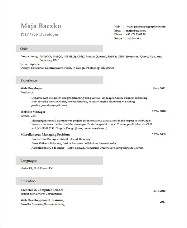 8+ Sample PHP Developer Resume Templates Sample Templates - php programmer resume