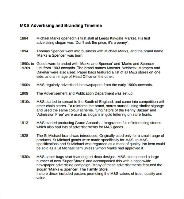 Sample Advertising Timeline Template - 6+ Documents in PDF, Word, PSD