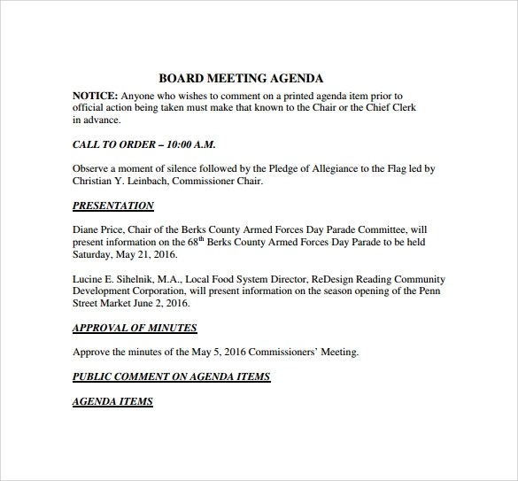 12 Board Meeting Agenda Templates \u2013 Free Samples, Examples  Format - board meeting agenda