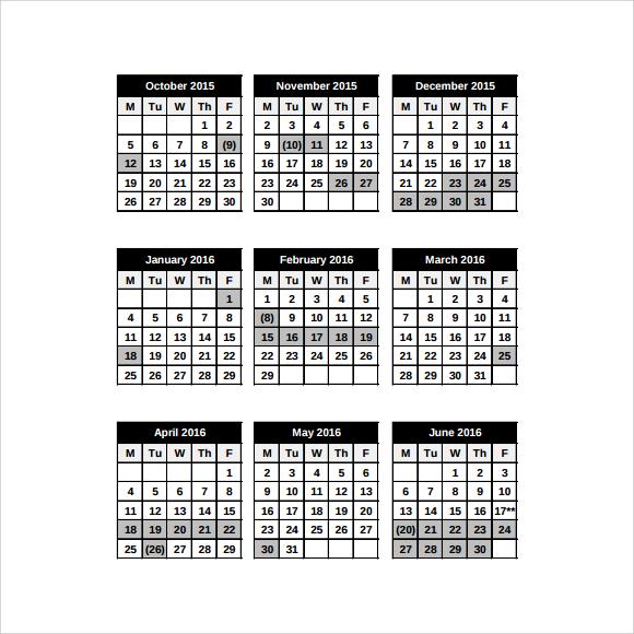 8 School Calendar Templates \u2013 Free Samples, Examples  Format - sample school calendar