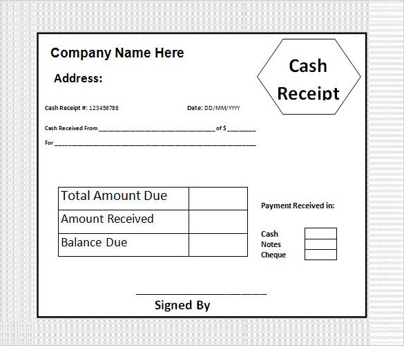 Cash Receipt Template Xls – Examples of Cash Receipts