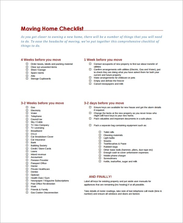 Checklist Sample Format Templatebillybullock  - moving checklist template