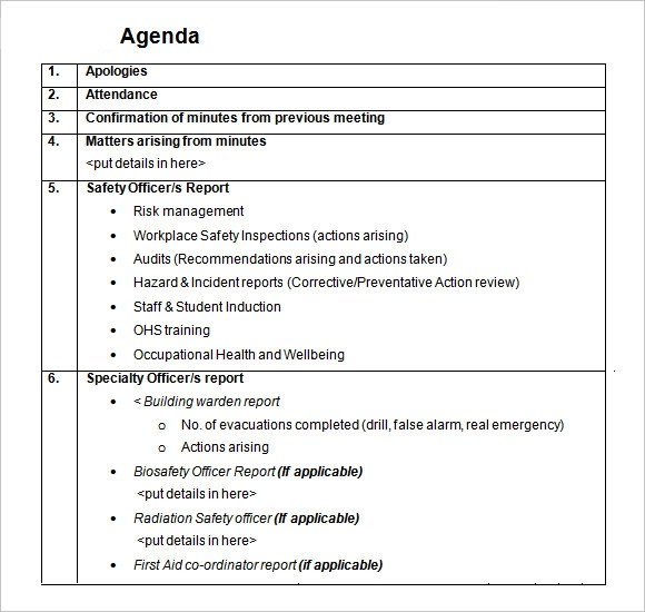 7 Daily Agenda Templates \u2013 Free Samples , Examples  Format Sample - biosafety officer sample resume
