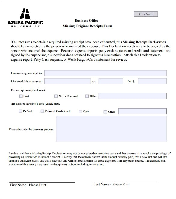 12 Business Receipt Templates \u2013 Free Samples, Examples  Format - business receipts templates
