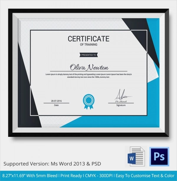 Sample Certificate Of Training Completion Template  Cv Resume Builder