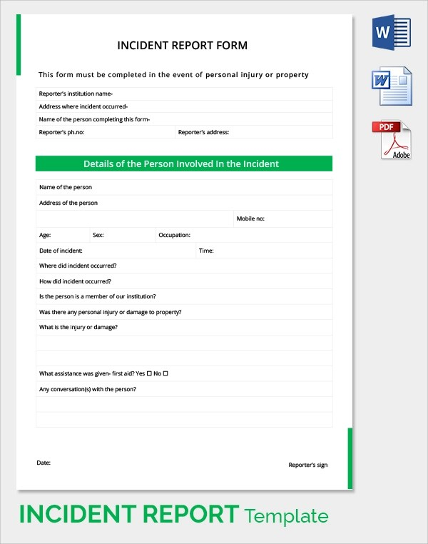 Sample Incident Report - 16+ Documents In PDF, Word - incident report template word
